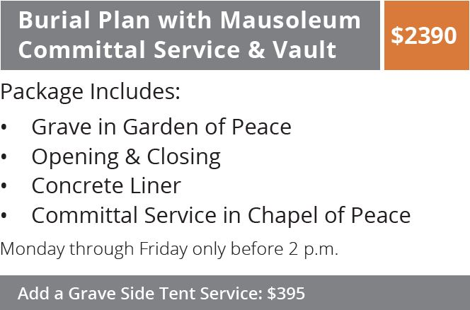Burial Plan with Mausoleum Committal Service & Vault
