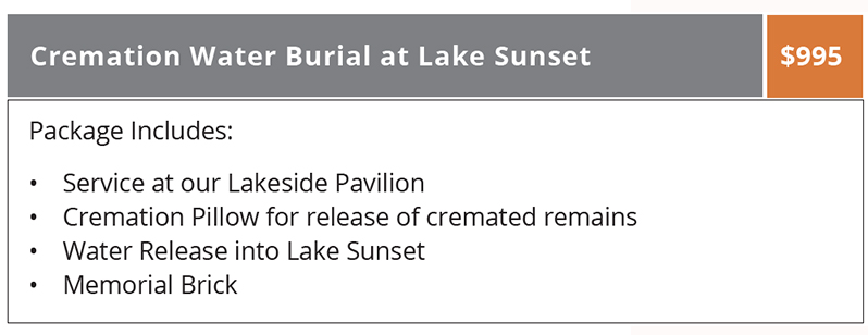 Water Burial Package at Lake Graceland, Valparaiso, Indiana
